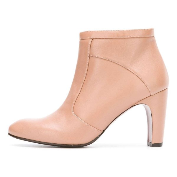 Nude Ankle Boot chunky Heel Boots image 2