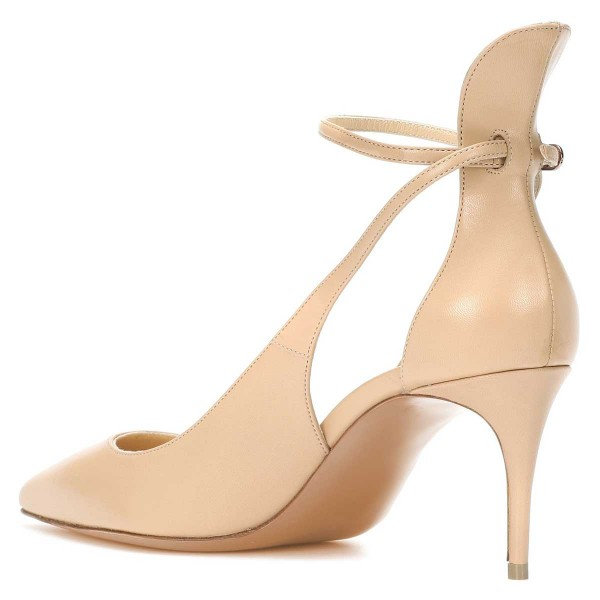 Nude Ankle Strap Heels Stiletto Heel Pointy Toe Pumps image 2