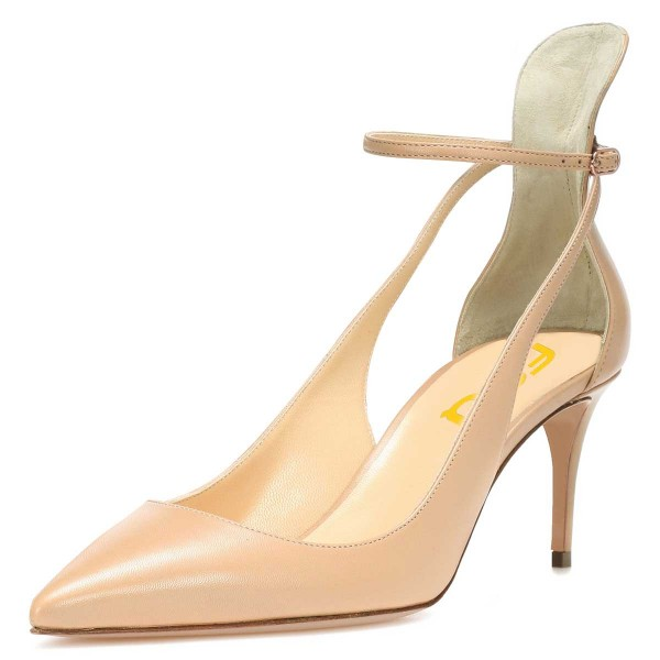 Nude Ankle Strap Heels Stiletto Heel Pointy Toe Pumps image 1