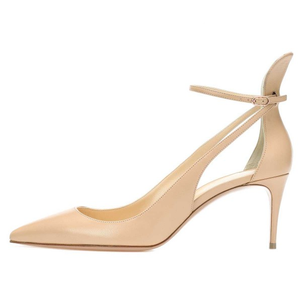 Nude Ankle Strap Heels Stiletto Heel Pointy Toe Pumps image 3