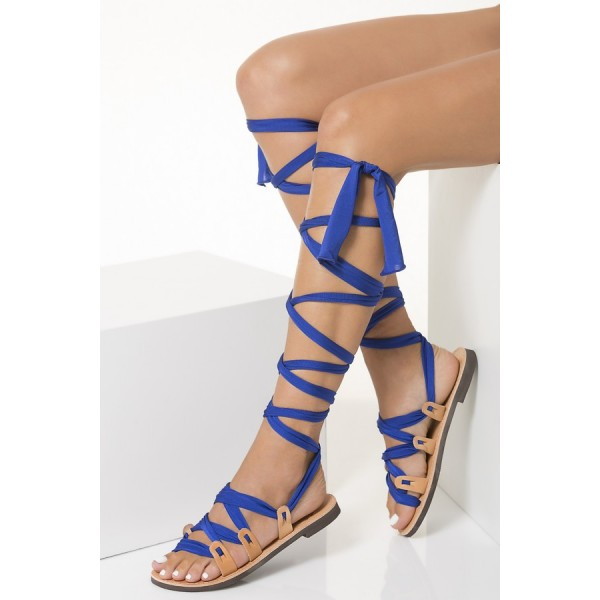 3abf96cfc1489c ... Nude Beach Gladiator Sandals Royal Blue Scarves Strappy Sandals image 2  ...