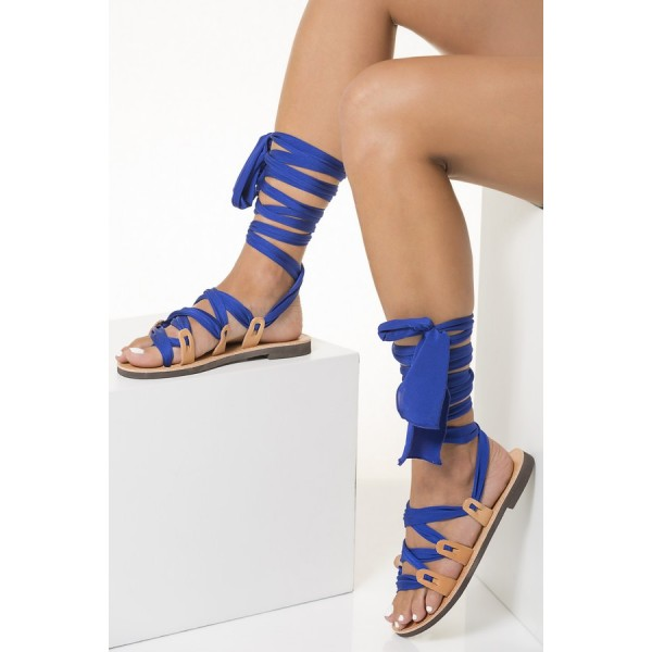 Nude Beach Gladiator Sandals Royal Blue Scarves Strappy Sandals image 4