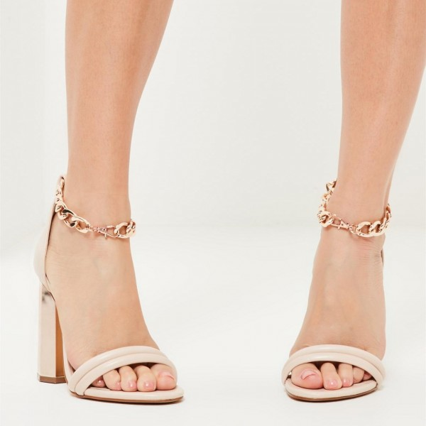 Nude Block Heel Sandals Ankle Strap High Heel Shoes image 2