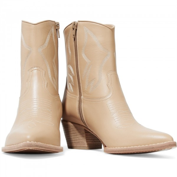 Nude Block Heels Ankle Boots Fashion Cowgirl Boots image 4