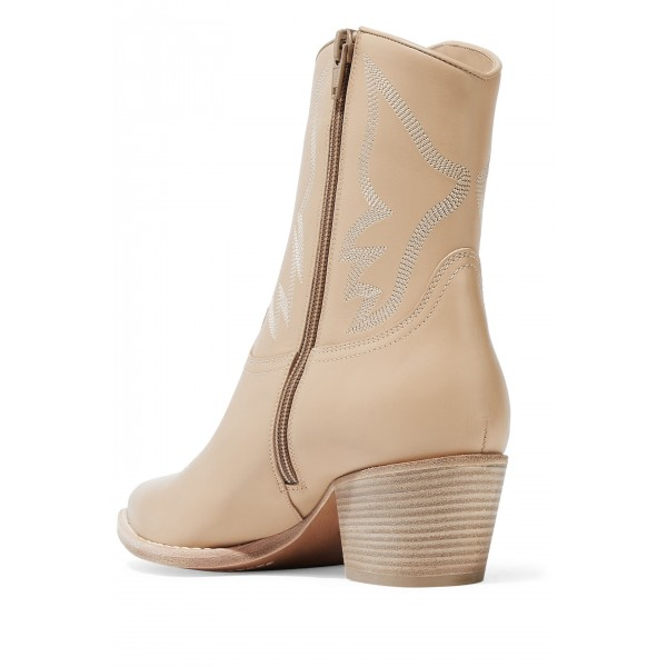 Nude Block Heels Ankle Boots Fashion Cowgirl Boots image 3
