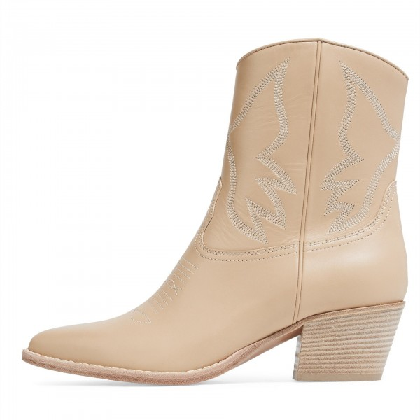 Nude Block Heels Ankle Boots Fashion Cowgirl Boots image 1