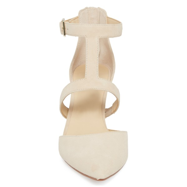 Beige Buckle Stiletto Heel Ankle Strap Heels Pumps image 2