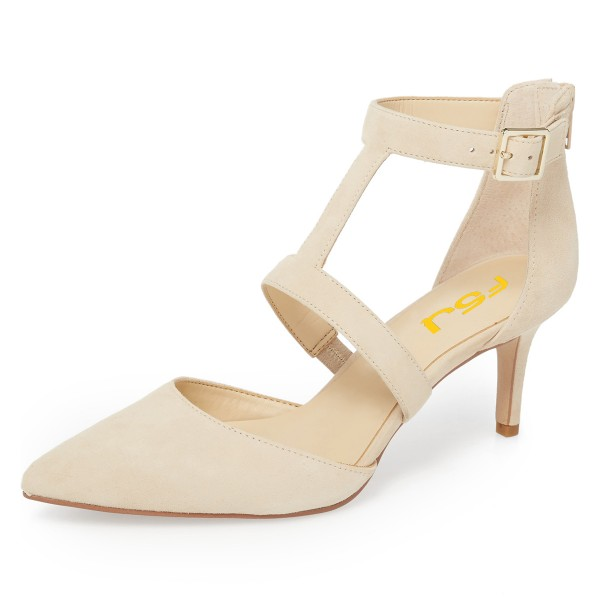 Beige Buckle Stiletto Heel Ankle Strap Heels Pumps image 1