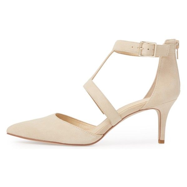 Beige Buckle Stiletto Heel Ankle Strap Heels Pumps image 3