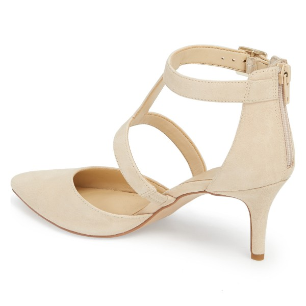 Beige Buckle Stiletto Heel Ankle Strap Heels Pumps image 4