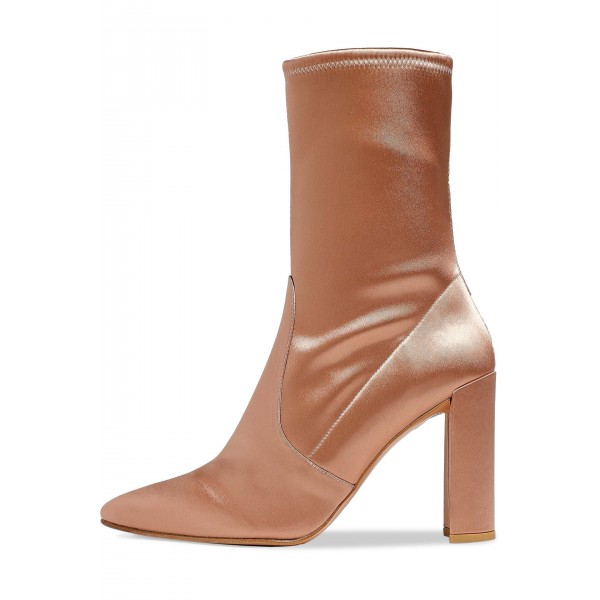 Women's Satin Stretch Boots Chunky Heel Sock Booties in Champagne image 2