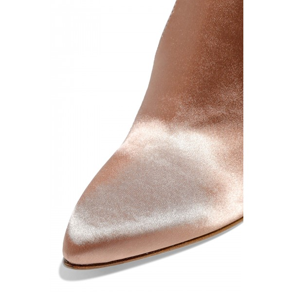 Women's Satin Stretch Boots Chunky Heel Sock Booties in Champagne image 3