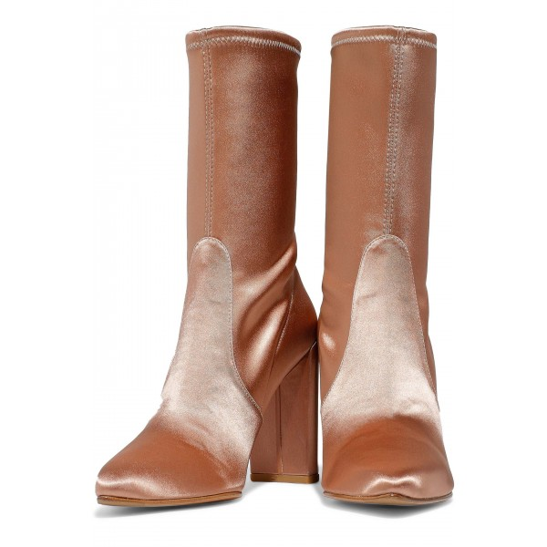 Women's Satin Stretch Boots Chunky Heel Sock Booties in Champagne image 1