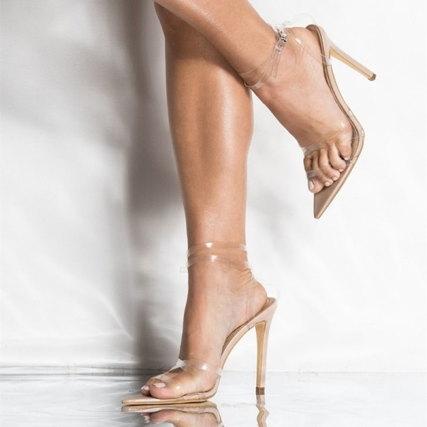 139034e0bbf Nude Clear Strap Heels Sexy Transparent Stilettos Ankle Strap Sandals image  1 ...