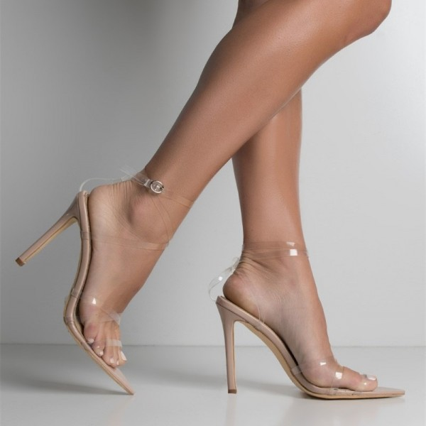 Nude Clear Strap Heels Sexy Transparent Stilettos Ankle Strap Sandals image 2