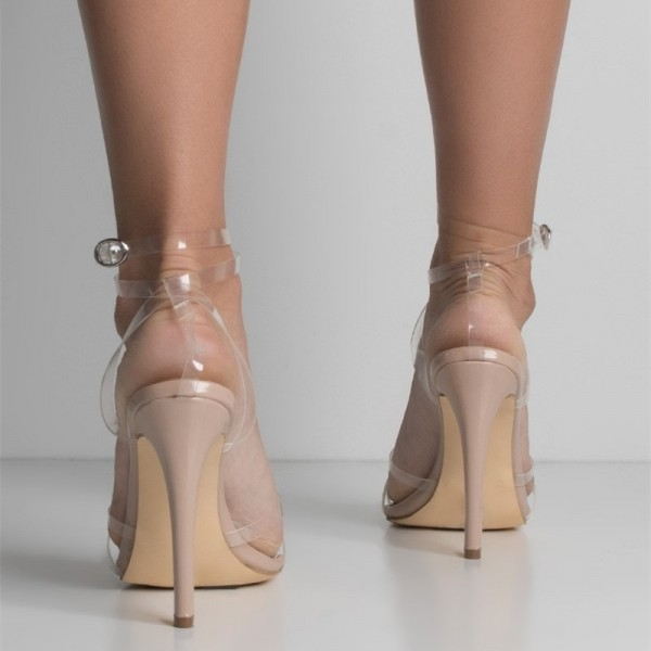 Nude Clear Strap Heels Sexy Transparent Stilettos Ankle Strap Sandals image 4