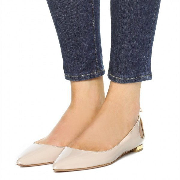 Nude Comfortable Flats Patent Leather Cut out Back Tassel Shoes image 3