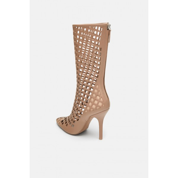 Nude Cut out Cage Mid Calf Summer Boots Hollow out Sexy Stiletto Boots image 2