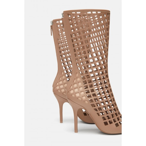 Nude Cut out Cage Mid Calf Summer Boots Hollow out Sexy Stiletto Boots image 3