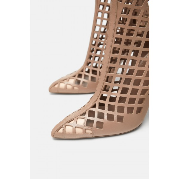Nude Cut out Cage Mid Calf Summer Boots Hollow out Sexy Stiletto Boots image 4