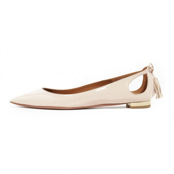 Nude Comfortable Flats Patent Leather Cut out Back Tassel Shoes image 2