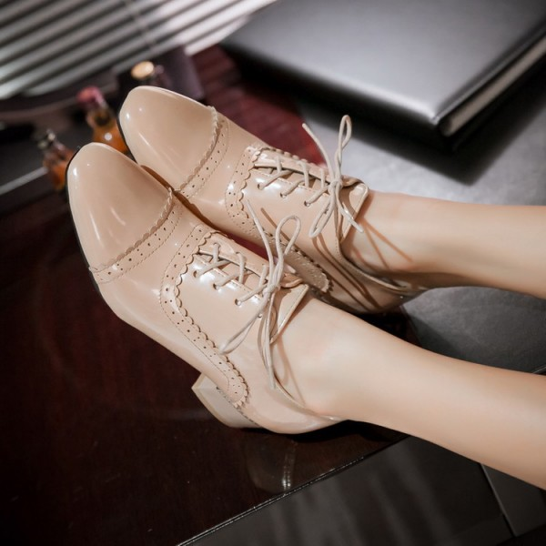 Nude Lace up Women's Oxfords Block Heel School Shoes US Size 3-15 image 1