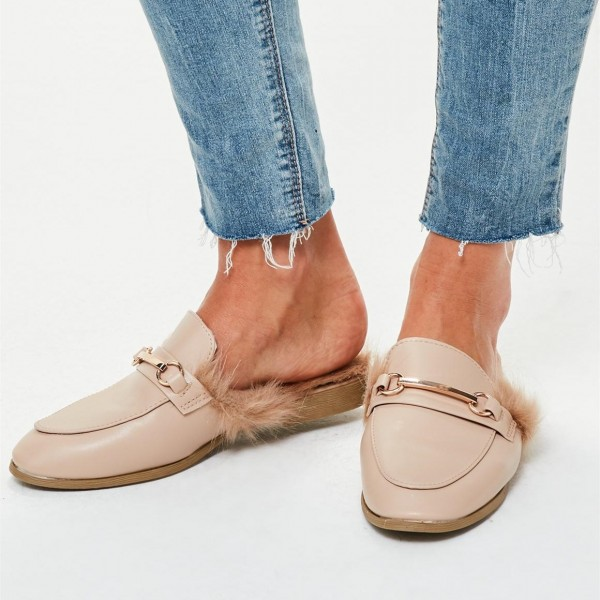 Nude Fur Loafer Mules Flats image 1