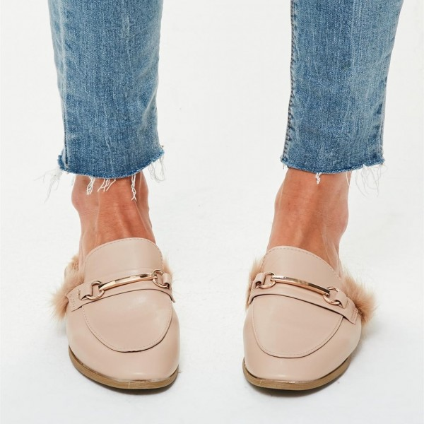 Nude Fur Loafer Mules Flats image 3