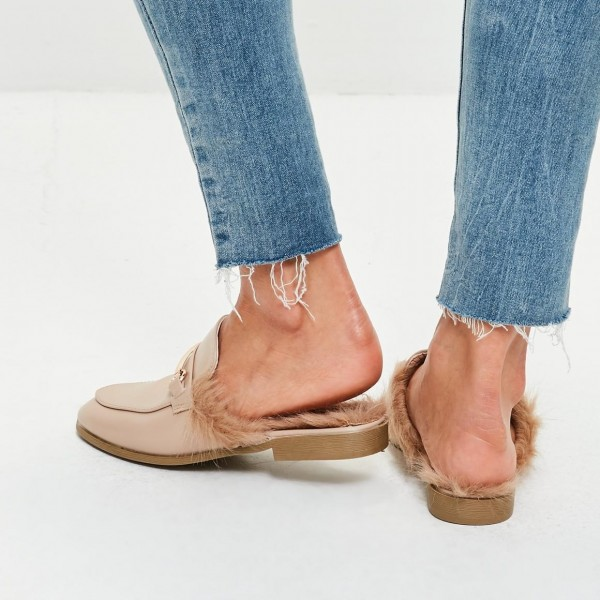 Nude Fur Loafer Mules Flats image 2