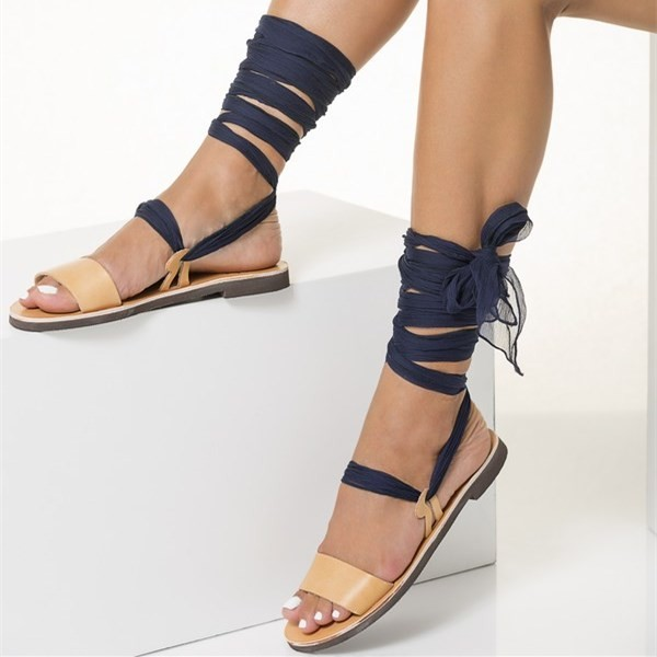 Nude Gladiator Sandals Open Toe Strappy Sandals with Navy Scarves image 2