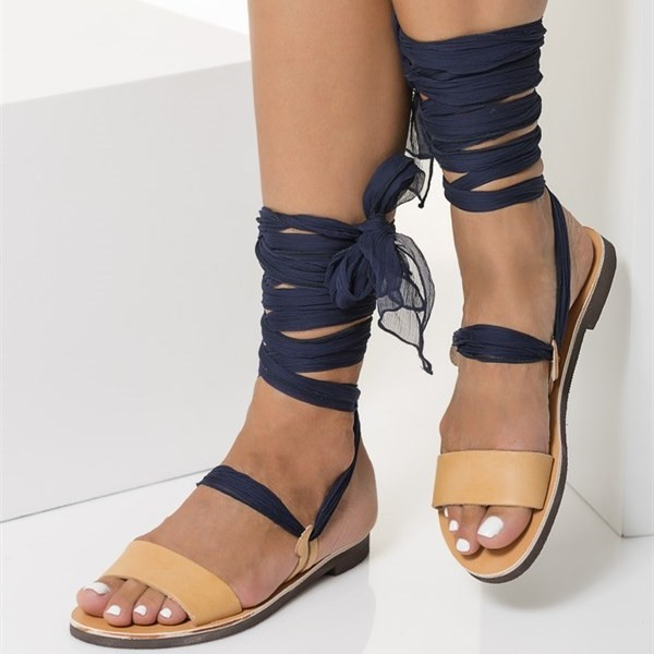 Nude Gladiator Sandals Open Toe Strappy Sandals with Navy Scarves image 4