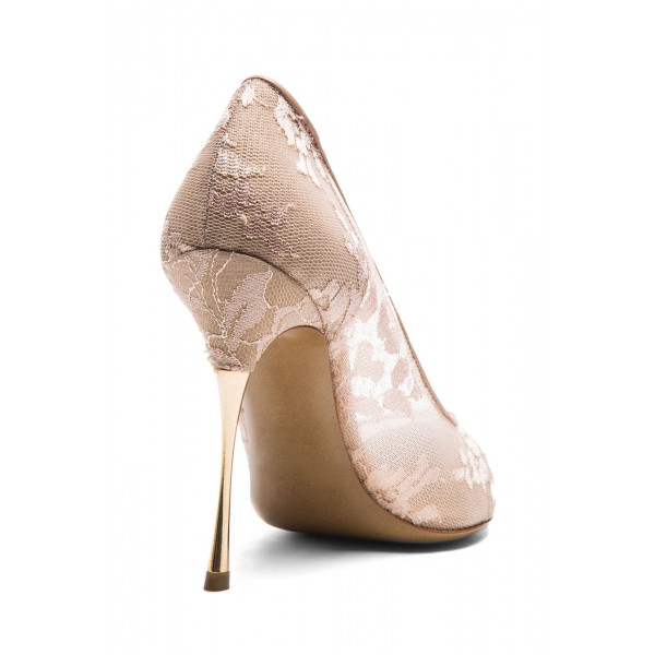 Nude Bridal Shoes Lace Heels Pointy Toe Stiletto Heel Pumps image 4