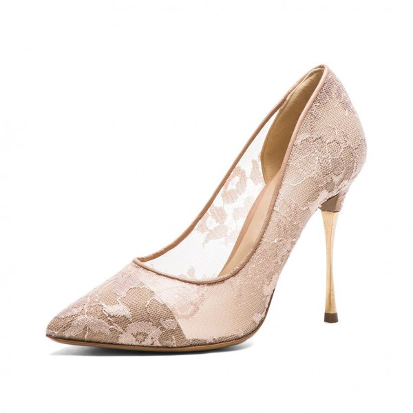 600c06554e6 Nude Bridal Shoes Lace Heels Pointy Toe Stiletto Heel Pumps