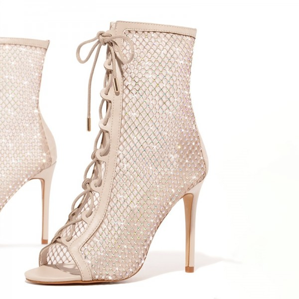 Nude Lace Up Boots Nets Rhinestone Stiletto Heel Ankle Boots image 2