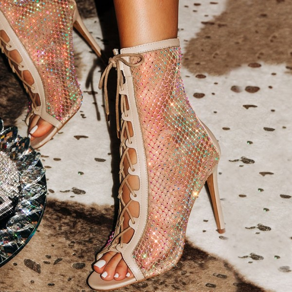 Nude Lace Up Boots Nets Rhinestone Stiletto Heel Ankle Boots image 1