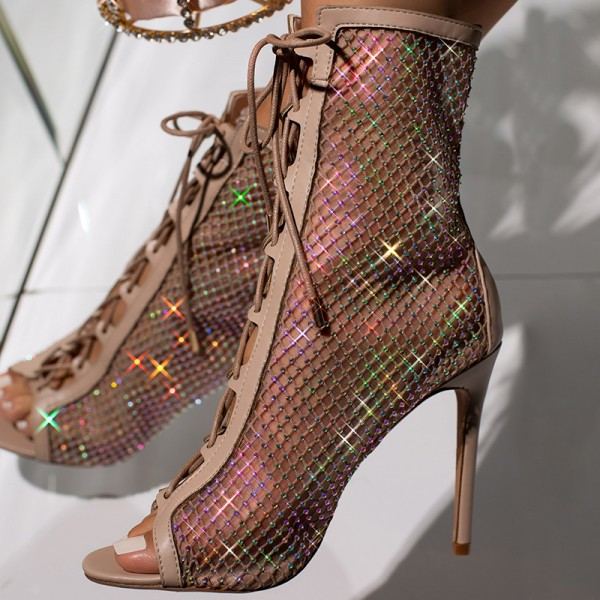 Nude Lace Up Boots Nets Rhinestone Stiletto Heel Ankle Boots image 3