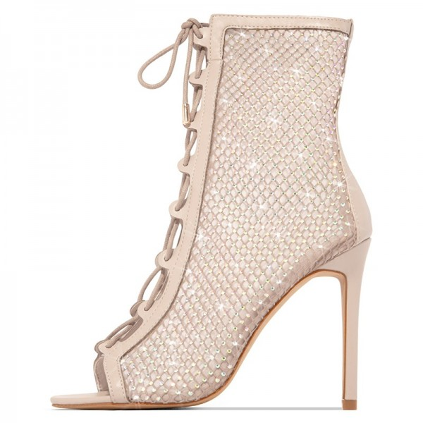 Nude Lace Up Boots Nets Rhinestone Stiletto Heel Ankle Boots image 4