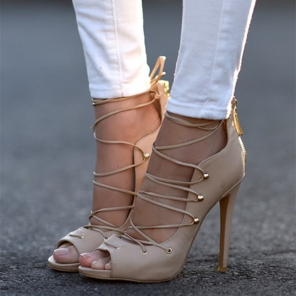 Nude Lace Up Heels Strappy Peep Toe Stiletto Heel Pumps image 1