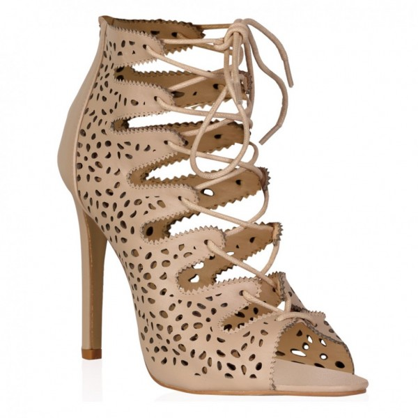 Nude Strappy Heels Hollow out Lace up Sandals Stiletto Heels image 2