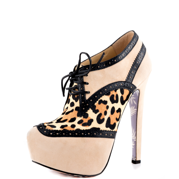 Nude Leopard Print Boots Stiletto Heels Floral Print Sole Booties image 5