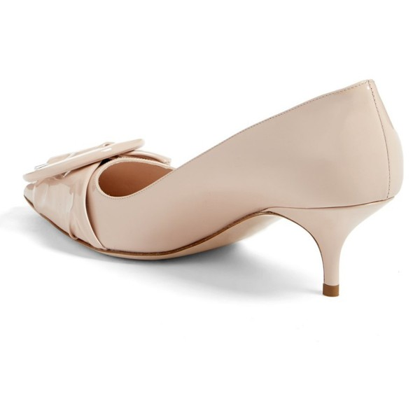 Nude Mirror Leather Pointy Toe Kitten Heels Pumps with Buckle image 2