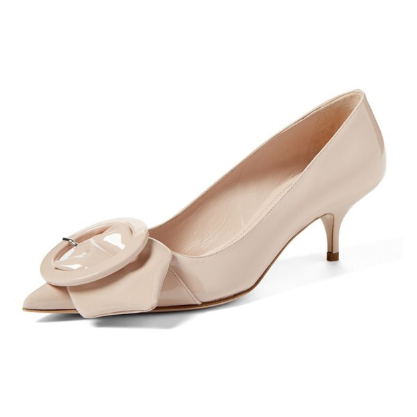 Nude Mirror Leather Pointy Toe Kitten Heels Pumps with Buckle image 1