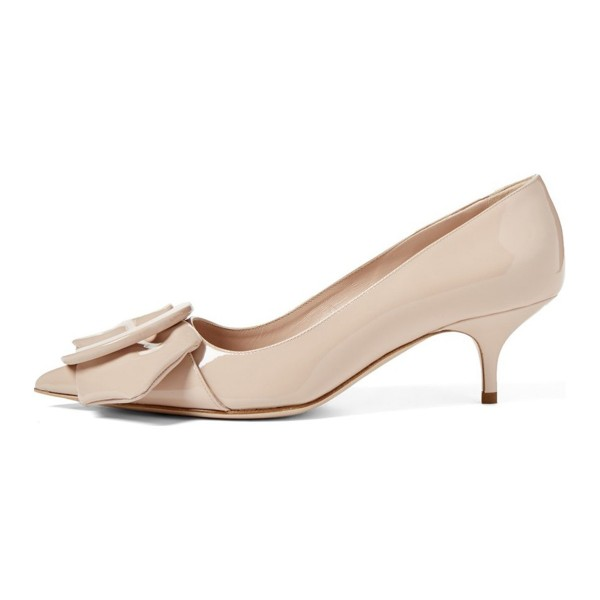 Nude Mirror Leather Pointy Toe Kitten Heels Pumps with Buckle image 3