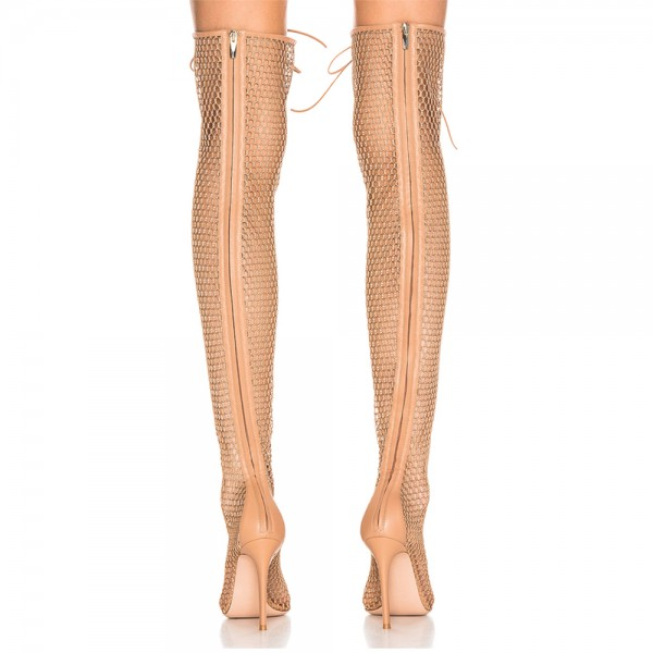 Nude Nets Peep Toe Stiletto Heel Thigh High Lace Up Boots  image 2