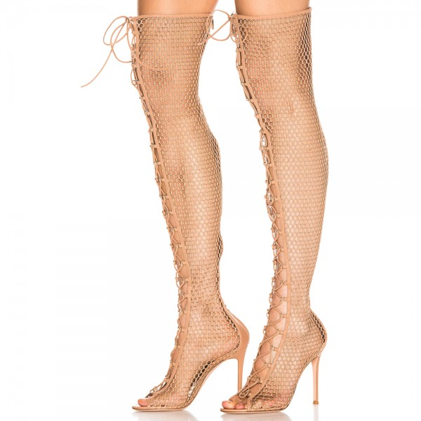 Nude Nets Peep Toe Stiletto Heel Thigh High Lace Up Boots  image 1