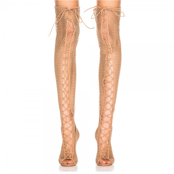 Nude Nets Peep Toe Stiletto Heel Thigh High Lace Up Boots  image 3