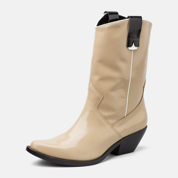Nude Western Boots Patent Leather Chunky Heel Mid Calf Boots image 1