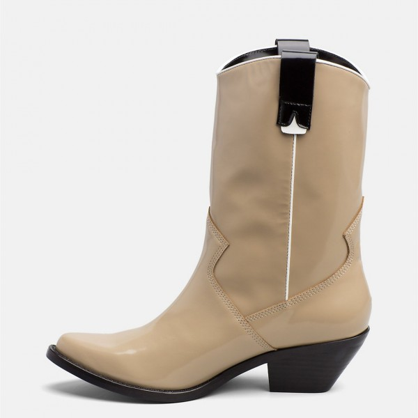 Nude Western Boots Patent Leather Chunky Heel Mid Calf Boots image 3