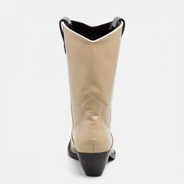 Nude Western Boots Patent Leather Chunky Heel Mid Calf Boots image 2