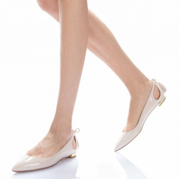 Nude Comfortable Flats Patent Leather Cut out Back Tassel Shoes image 5